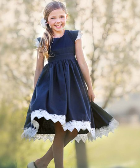 050accdec5f love this product Navy   White Lace-Accent Alessia A-Line Dress - Infant