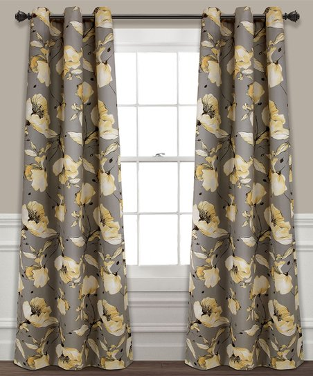 36b37f0e2a8137 love this product Yellow & Gray Delsey Blackout Curtain Panel - Set of Two