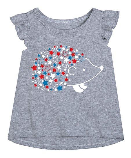 7a323530cd75 Athletic Heather Patriotic Star Hedgehog Flutter-Sleeve Tee - Toddler &  Girls