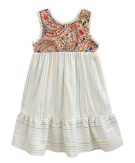 404d369b2d88 love this product White Paisley Disco Stripe Embroidered Dimitri Empire-Waist  Dress - Girls