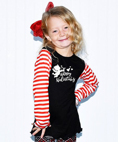 cc92695ec9 love this product Black & Red Stripe 'Happy Valentines' Long-Sleeve Top -  Toddler & Girls