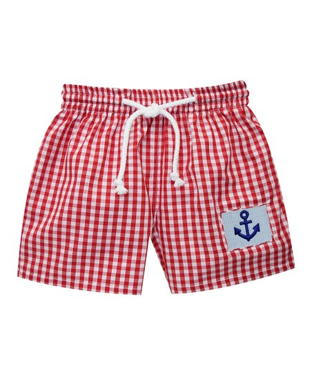 c0a371bf46 love this product Red Checkerboard Anchor Smocked Swim Trunks - Infant,  Toddler & Boys