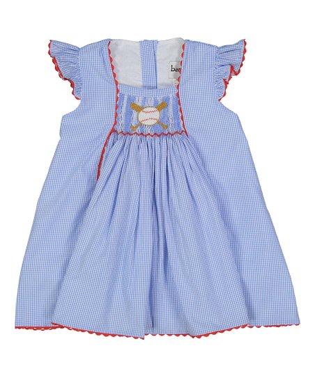 994516148 Blue Gingham Baseball Smocked Bishop Dress - Infant, Toddler & Girls