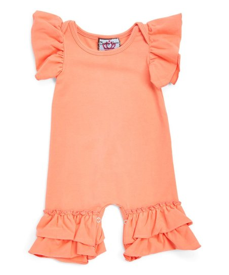 ae2514048 love this product Peach Flutter-Sleeve Romper - Newborn