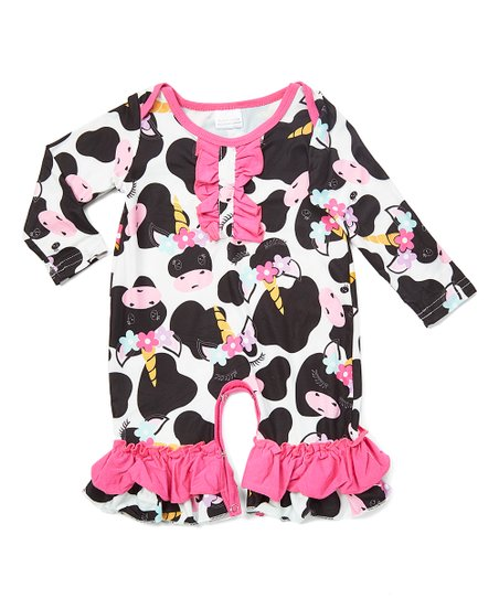 694165fd51d love this product Black   Pink Cow Ruffle-Leg Playsuit - Newborn   Infant