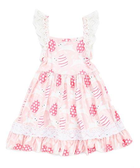 0da002cb9 Royal Gem Pink Bunny   Egg Lace Ruffle Sleeveless Dress - Infant ...