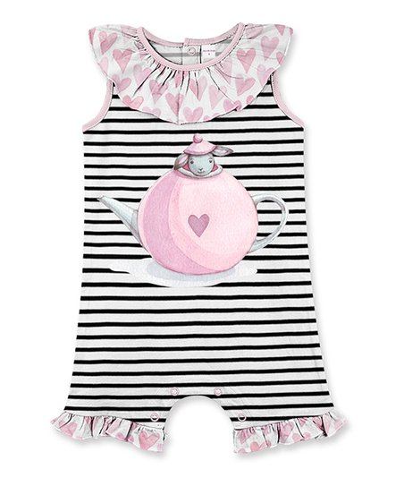 b9996361ef9 love this product Black   White Stripe Bunny Ruffle-Accent Romper - Infant    Toddler