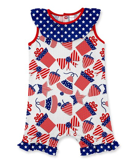 0ab99f59ec25 love this product Red   Blue Stars   Stripes Ruffle-Accent Romper - Infant    Toddler