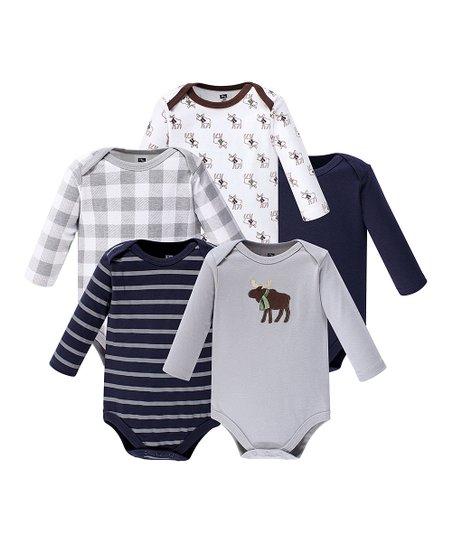 614b0396829f Hudson Baby Gray & Brown Moose Long-Sleeve Bodysuit - Set of Five ...