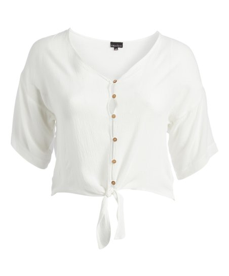 0b2147bb love this product White Tie-Front Button-Up Top - Plus
