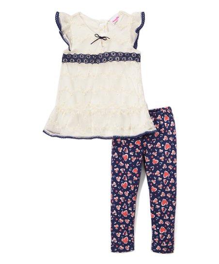 986d61c97 Nannette Kids White Lace Angel-Sleeve Tunic   Navy Heart Leggings ...