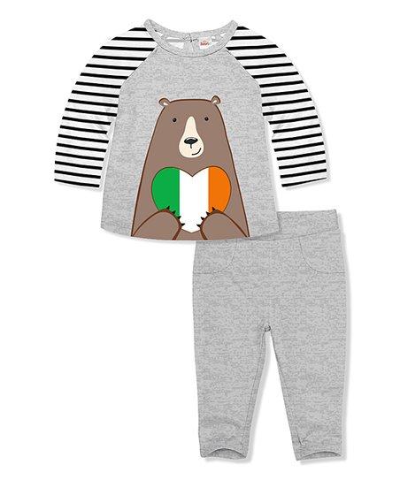 03c96494f64c5 love this product Stripe & Gray Heather Bear Irish Flag Heart Raglan Tee &  Leggings - Infant & Toddler
