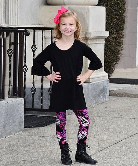 5f07639afa9c1 Love this product black bell sleeve tunic purple plaid eggs leggings set  toddler girls jpg 452x543