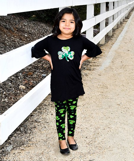 164f1e42db7a96 love this product Black Shamrock Bell-Sleeve Top & Green Leggings - Toddler  & Girls