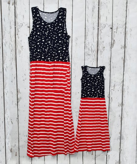 1f6a8c1b181 love this product Navy & Red Stars & Stripes Adult & Kids Maxi Dress -  Toddler, Girls, Women & Juniors