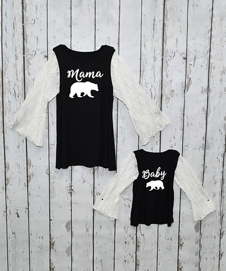 8f645f15852 love this product Black & White Lace Long-Sleeve Adult & Kids Tunic - Girls  & Women