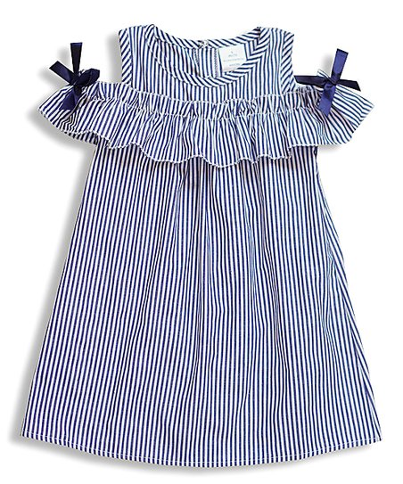 0c9caf4de994 love this product Navy   White Stripe Bow-Accent Off-Shoulder Dress -  Toddler   Girls
