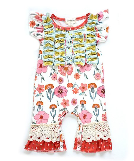 39ad16e9b19 love this product White   Pink Floral Lace-Accent Angel-Sleeve Playsuit -  Newborn   Infant