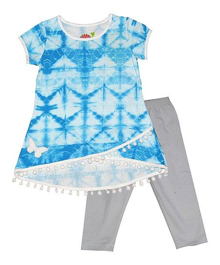 a371b7dfd0a love this product Blue Tie-Dye Hi-Low Tunic   Gray Capri Leggings - Toddler    Girls