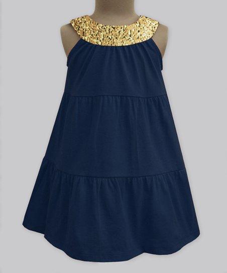 49dee7ba6 love this product Navy & Gold Sequin Yoke Dress - Infant, Toddler & Girls