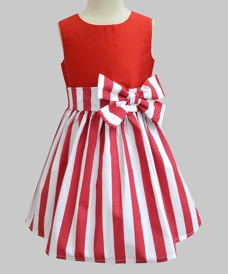 9f897da083489 A.T.U.N. Red Stripe Bow-Accent Sleeveless A-Line Dress - Infant, Toddler &  Girls