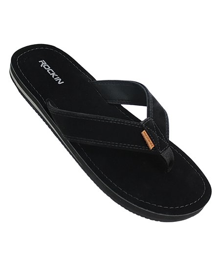 82fcb8e5cbb1d Rockin Footwear Black Faux Suede Flip-Flop - Men   Zulily