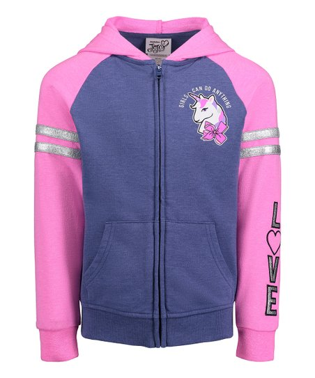 0c9a6b635be H.I.S. International Jojo Siwa Navy   Pink Unicorn Raglan Hoodie ...