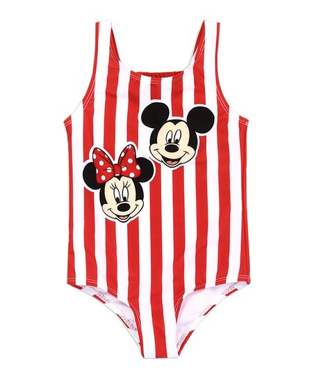 84539891aa26b love this product Mickey Mouse & Minnie Mouse Red & White Stripe One-Piece  - Toddler