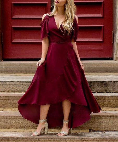 4a7bb8529ec Joyfolie Women Burgundy Kennedy Cold-Shoulder Maxi Dress - Women ...