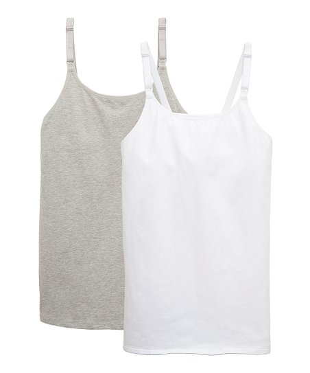 e51d8417d3f20 love this product White & Gray Built-In Bra Maternity/Nursing Camisole Set  - Plus Too