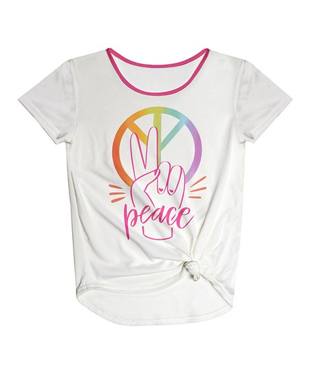 d32808256ed731 love this product White  Peace  Knot-Front Scoop Neck Tee - Toddler   Girls