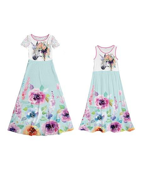 53eecf9ceaa5 Emma   Elsa Mint   White Floral Unicorn Maxi Dress - Girls