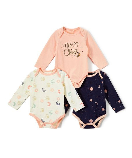 311710c04140f love this product Topical Peach 'Moon Child' Long-Sleeve Bodysuit Set -  Newborn