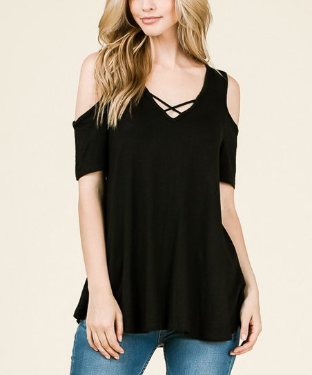 69ae9ed0fb771 SBS Fashion Black V-Neck Cross-Accent Cold Shoulder Top - Women