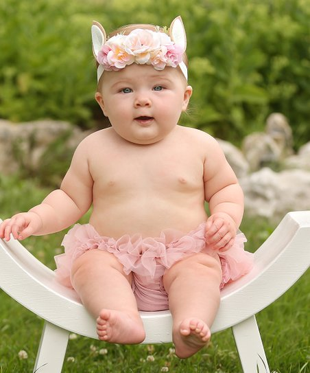 Chicaboo Dusty Rose Ruffle Bloomers   Floral Fawn Headband Set ... f408702f322