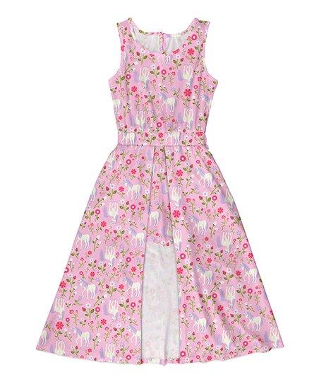 285f9f8b1fb8 Emma   Elsa Pink   Green Floral Unicorn Walk-Through Maxi Dress ...