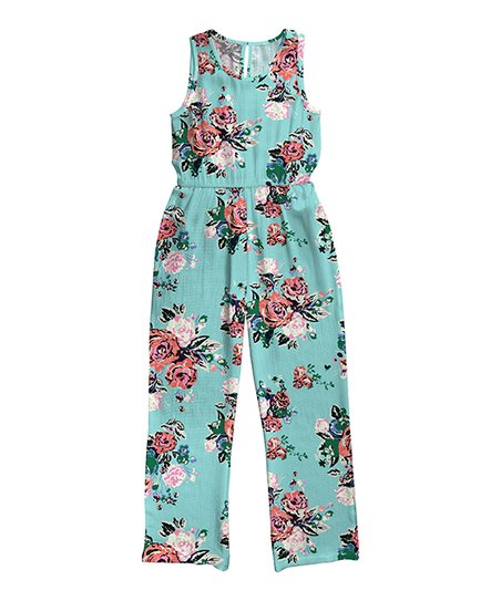 0df0e2ea3a3 love this product Light Teal   Pink Floral Jumpsuit - Girls