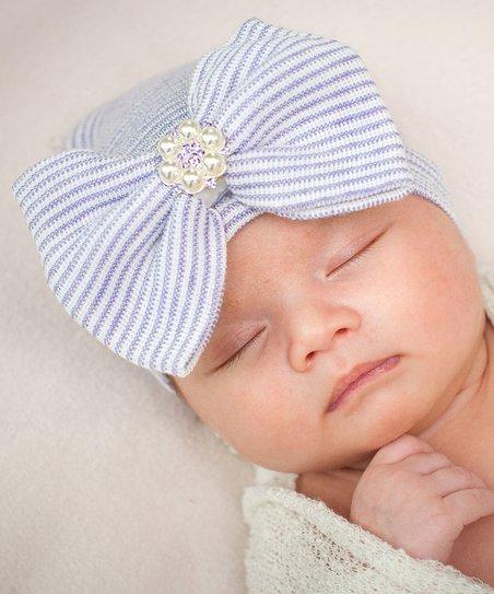 SarahBow Accessories Lavender   White Stripe Bow Newborn Beanie ... 02c23fdf730