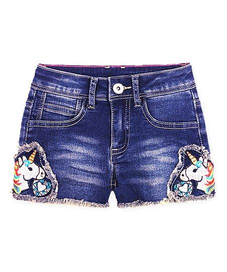 cb642c9e93 Cutie Patootie Blueberry Unicorn Gem Fringe-Hem Denim Shorts ...