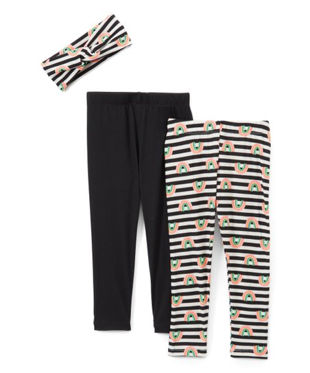 5a88b62985ce7 Freestyle Revolution Black & Rainbow Stripe Leggings Set - Toddler ...