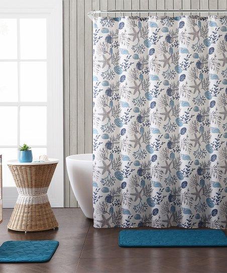 Blue Embossed Antigua 15 Piece Shower Curtain Rug Set