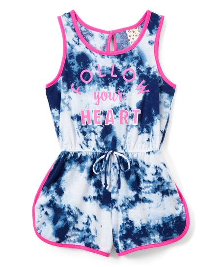 07af8600c8a love this product Blue Tie-Dye  Follow Your Heart  Romper - Girls