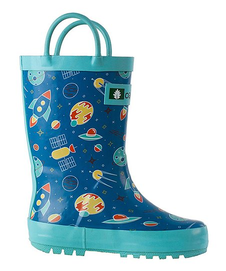 94155db7b2350 Oaki Blue Outer Space Childrens Rubber Rain Boots - Kids