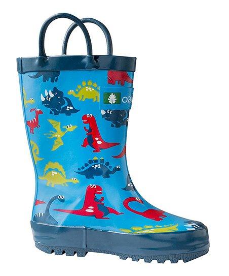 58f8c9aaf2ae6 Oaki Blue Dinosaurs Loop Handle Rubber Rain Boots - Boys | Zulily