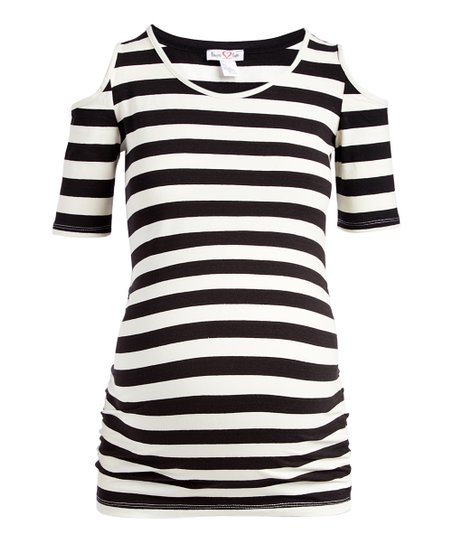 df4ad1c55bfe2 love this product Off-White   Black Stripe Cold-Shoulder Top - Plus