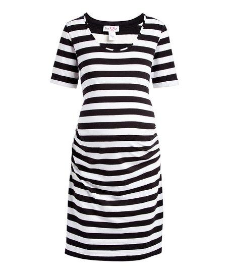 f3d6aed87c5e7 Times 2 Black & White Stripe Short-Sleeve Maternity T-Shirt Dress ...