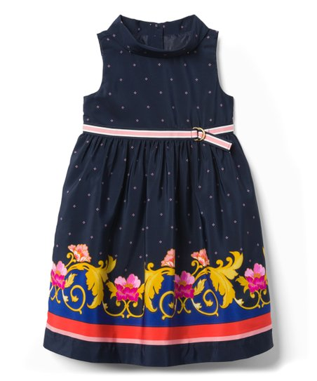 2b449b46b5e3 Janie & Jack Navy Floral Empire-Waist Dress - Girls | Zulily
