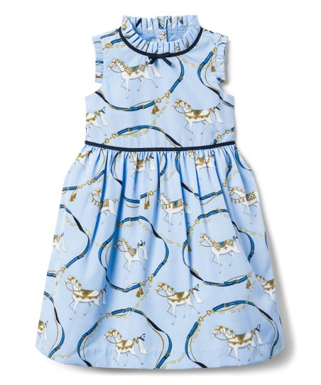 486043bb68f6 Janie & Jack Light Blue Horse Ruffle Neck Dress - Girls | Zulily