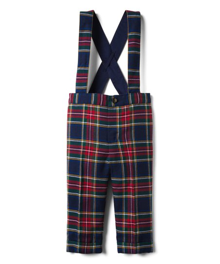 ceaee074d Janie & Jack Navy & Burgundy Plaid Suspender Pants - Infant | Zulily