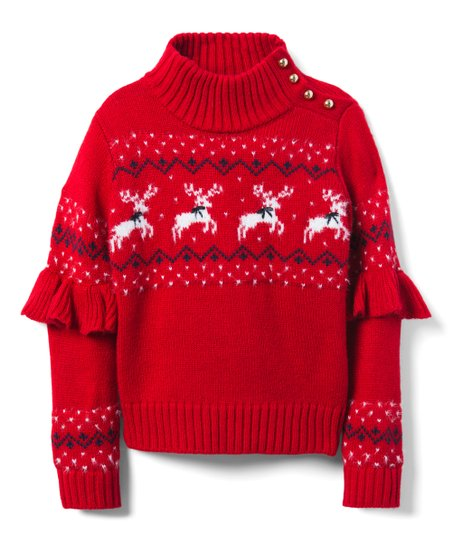 40b0464cf470ec love this product Red Reindeer Ruffle-Sleeve Sweater - Toddler & Girls